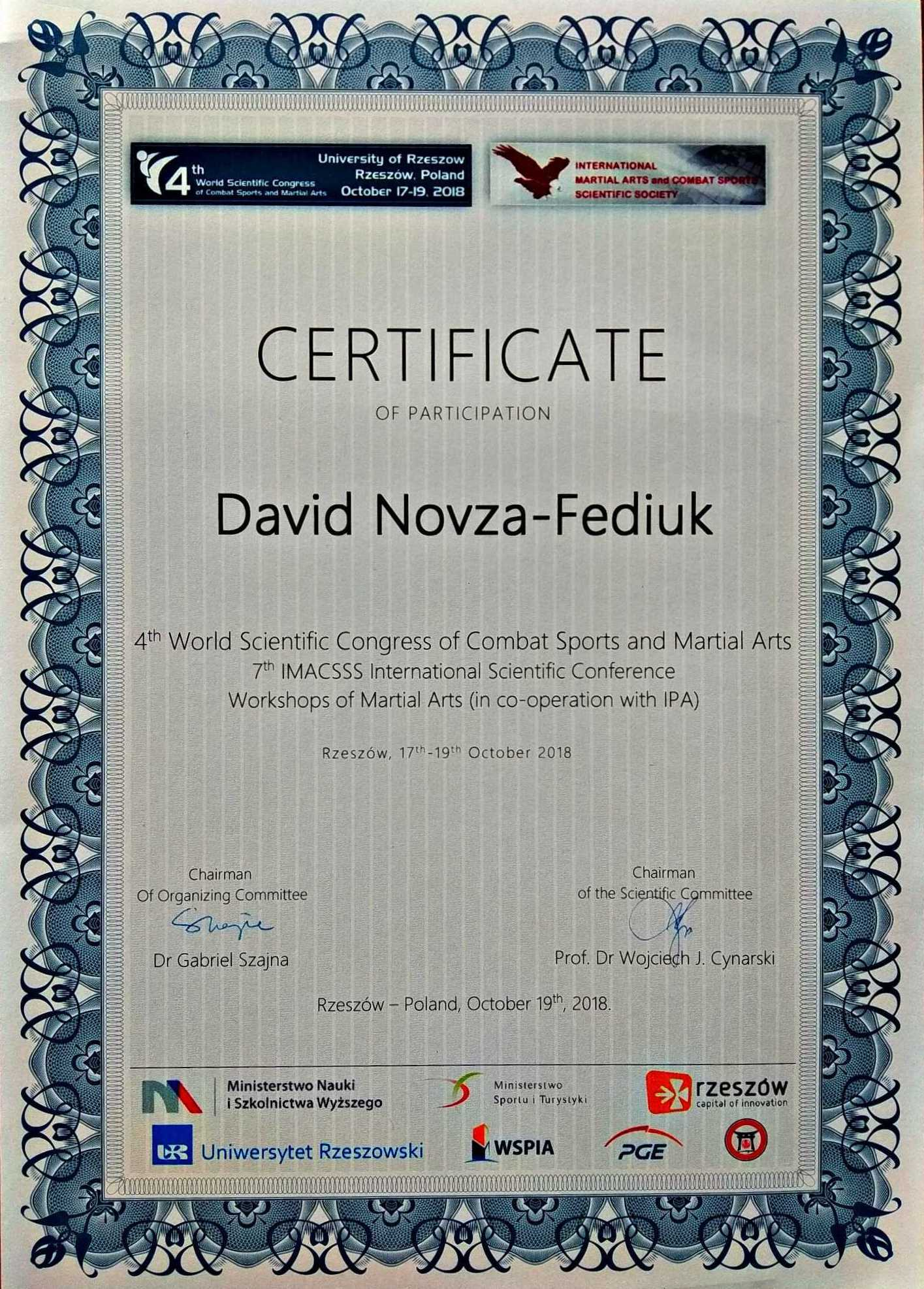 *** 4th World Scientific Congress of Combat Sports and Martial Arts IMACSSS — Workshop 2018-10-17-19 Rzeszow ***